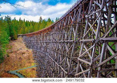 View of Kinsol Trestle wooden railroad bridge in Vancouver Island, BC Canada.