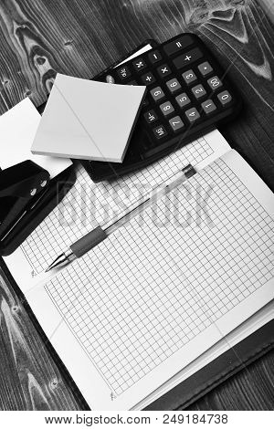 Business And Work Concept. Stationery And Leather Covered Notebook Open With Blank Pages.  Office To