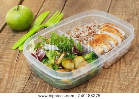 Lunch Box Healthy Food Take Away Plastic Container Buckwheat Salad Chicken Meat Brest