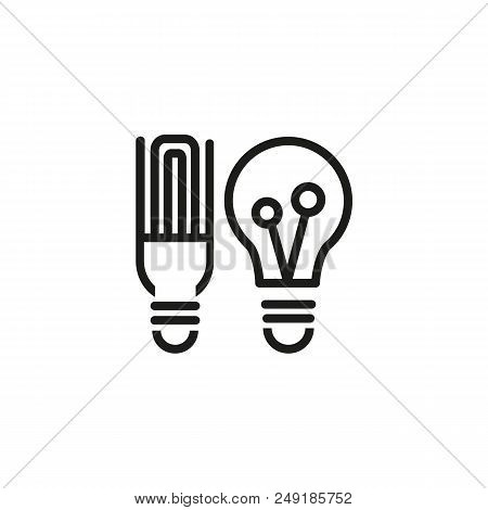 Low Energy Light Bulbs Line Icon. Lightbulb, Economy, Electricity. Energy Resource Concept. Can Be U