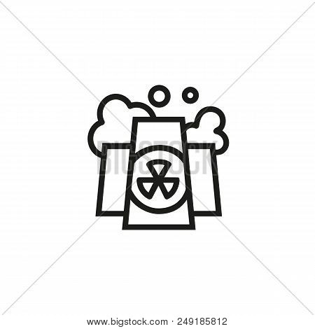 Nuclear Power Plant Line Icon. Atomic Reactor, Station, Chimney. Non Renewable Energy Concept. Can B