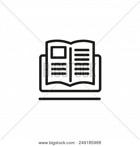 Tutorial Line Icon. Ebook, Study Guide, Computer. Online Education Concept. Can Be Used For Topics L