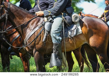 Union Soldiers on horseback during a reenactment of the Civil War