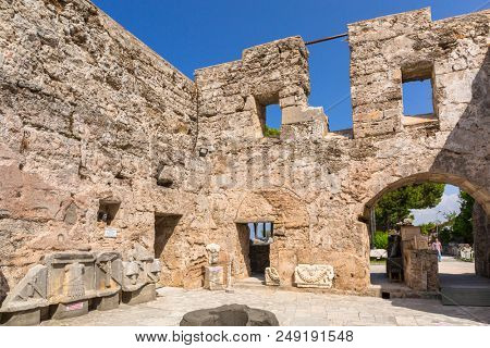 Side, Turkey - June 11, 2018: Beautiful greek architecture the ancient museum of Side in Turkey. Side  is an ancient Greek city on the southern Mediterranean coast of Turkey.