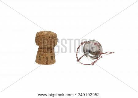 Champagne Cork And Muselet Of Pink Wire, Isolated On White With Clipping Path