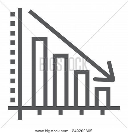 Decrease Line Icon, Reduction And Analytics, Chart Sign, Vector Graphics, A Linear Pattern On A Whit