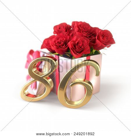 Birthday Concept With Red Roses In Gift Isolated On White Background. 3d Render - Eighty-sixth. 86th