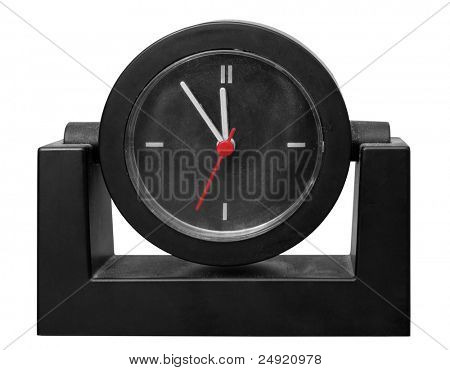 At the eleventh hour on a retro clock.