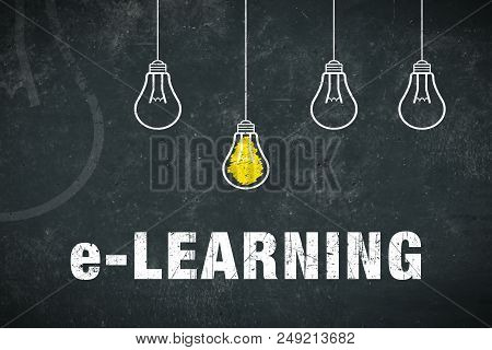 Graphic: E-learning. Light Bulbs On A Chalkboard.