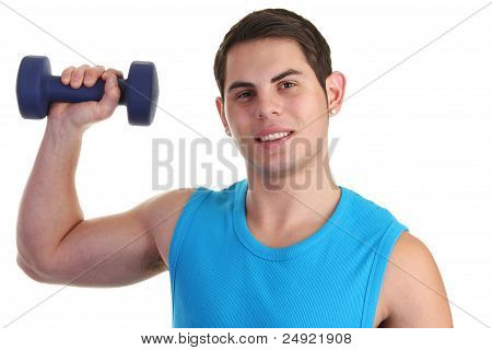 Guy Lifting Up A Dumbell
