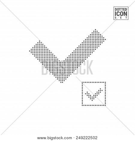 Chek Mark Dot Pattern Icon. Chek Mark Dotted Icon Isolated On White Background. Vector Illustration