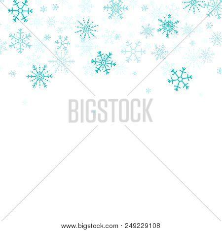 Vector Snowflakes Border. Snowflakes Horizontal Border. Snowflakes Frame.