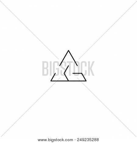 Lineart Maze Logo Design. Black Triangular Simple Intricacy Illustration