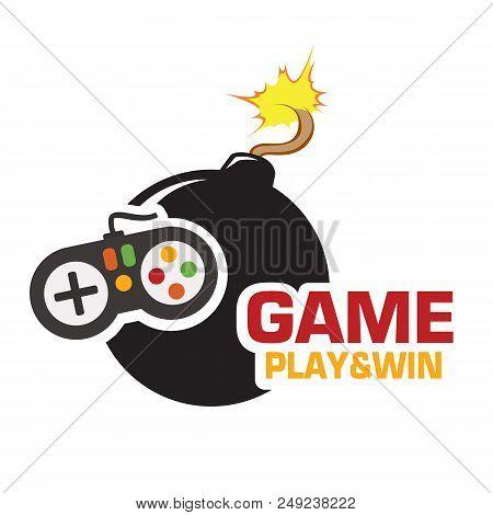 Game Play & Win Joystick Black Bomb Vector Image