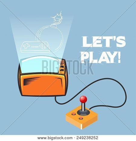 Lets Play Retro Video Game Joystick Vector Image