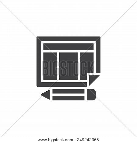 Schedule Calendar And Pencil Vector Icon. Filled Flat Sign For Mobile Concept And Web Design. Organi