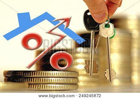 Percent, Symbol, Background, Apartment, Construction, Concept, Mortgage, Lending, Building, Edifice,