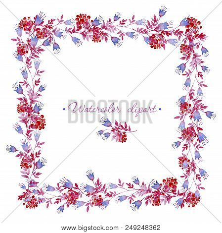 Watercolor Floral Square Frame And Small Floral Bouquet With Rowan Branches. Clipart Consist Of Flow