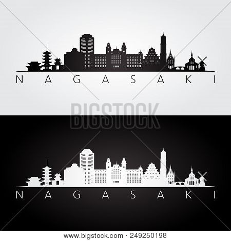 Nagasaki Skyline And Landmarks Silhouette, Black And White Design, Vector Illustration.