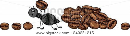 Scalable Vectorial Representing A Ant Carrying A Coffee Bean, Element For Design, Illustration Isola