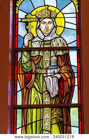 Rochester, Usa. June 17, 2018. Princess Olga On A Stained Glass Window. Fragment. Ukrainian Greek Ca