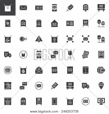 Post Vector Icons Set, Modern Solid Symbol Collection, Filled Style Pictogram Pack. Signs, Logo Illu