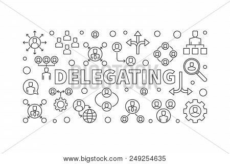 Delegating Horizontal Minimal Illustration - Vector Banner Made With Delegation Linear Icons