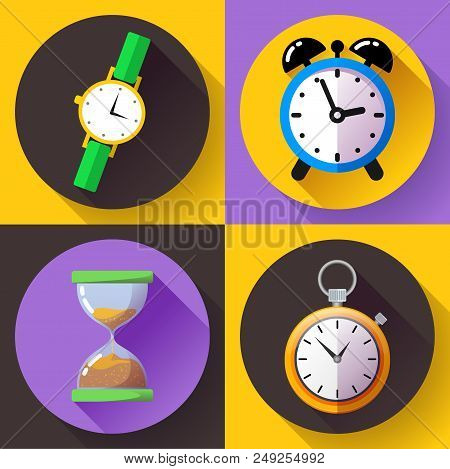 Old Vintage Hourglass Alarm Clock, Stopwatch, Wristwatch Icon Vector - Time Clock Icon Set.
