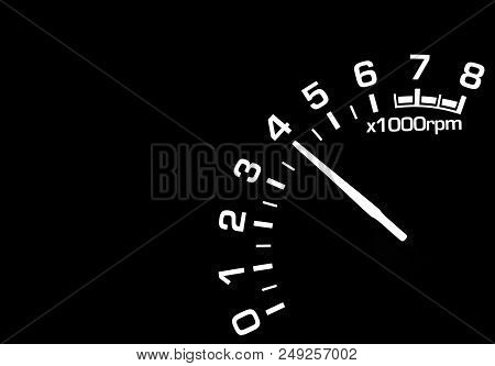 Car Interior Dashboard Details With Instrument Panel. Dashboard Closeup With Visible Speedometer. Od