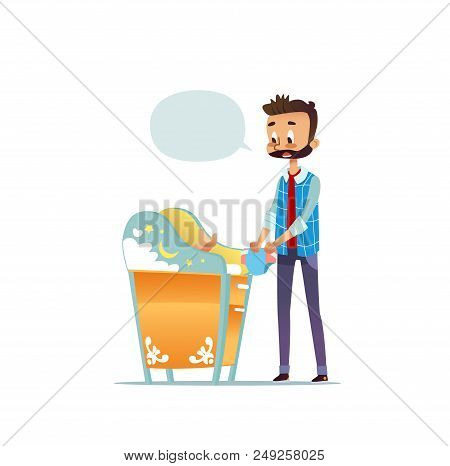 Bearded Man Changing Diaper Of Newborn Baby. Dad Taking Care Of Child And Blank Speech Bubble Isolat