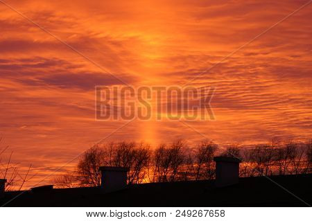 Sun setting over the small town of Eslöv in southern Sweden