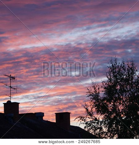 Sun Setting Over The Small Town Of Valla In Southern Sweden