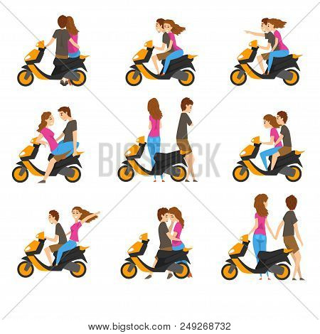 Set With Loving Couple And Scooter. Young Girl And Guy With Different Emotions. Cartoon People Chara