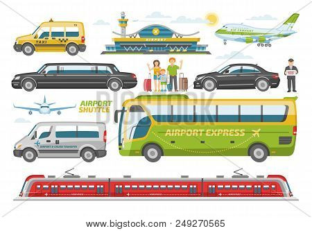 Transport Vector Public Transportable Vehicle Bus Or Train And Car For Transportation In City Illust