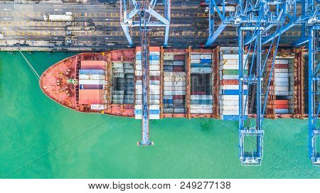 Aerial Top View Container Cargo Ship, Business Import Export Logistic And Transportation Of Internat