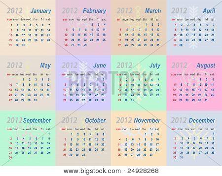 Vector calendar 2012