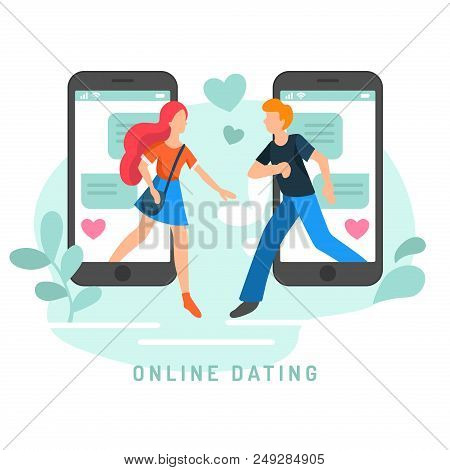 Vector Illustration For Online Dating App Users. Flat Infographics Of Man And Woman Acquaintance In