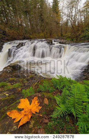 Yacolt Creek Falls At Moulton Falls Regional Park In Clark County Washington State In Fall Season