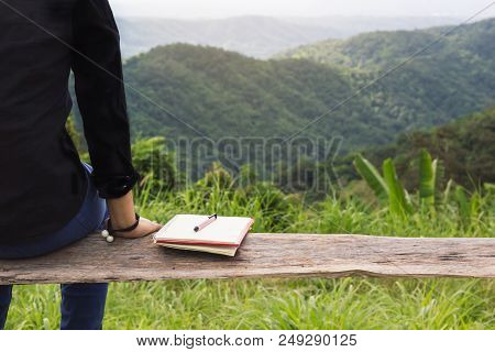Back Of Rare View Women Sit On Wood Bench With Black Or Empty Diary Or Book With Copy Sapce And The