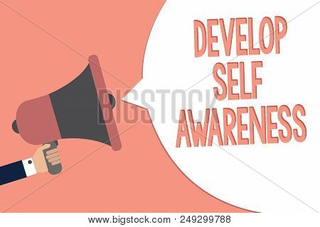 Conceptual hand writing showing Develop Self Awareness. Business photo text increase conscious knowledge of own character Recall remember text social notice speaker announcement awareness poster