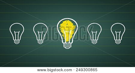 Graphic Idea - Light Bulbs At A Chalkboard