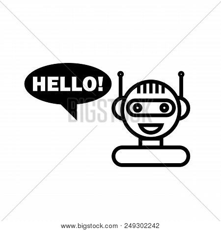 Black Line Chat Bot On White Background. Artificial Intelligence Concept Of Ui. Cute Smiling Chatbot