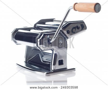 Pasta Machine With Wooden Handle Over White