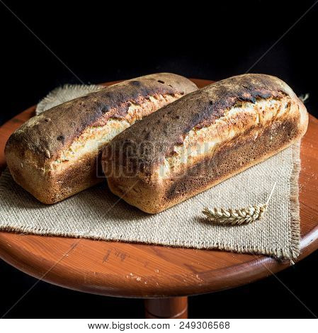 Two Loaves Of Fresh Sandwich Bread Well Baked