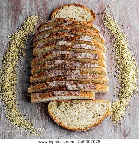 Hemp Sourdough Bread Cut In Fine Slices