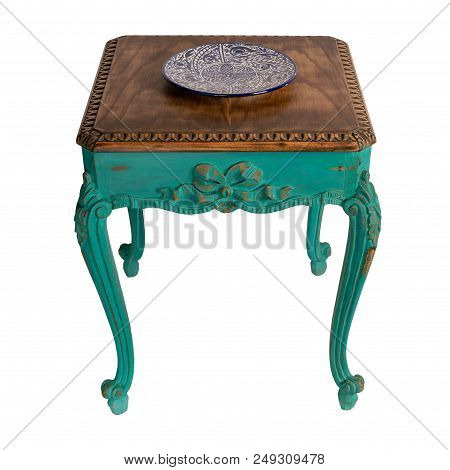 Vintage Furniture - Retro Wooden Vintage Table With Green Painted Legs Isolated On White Background