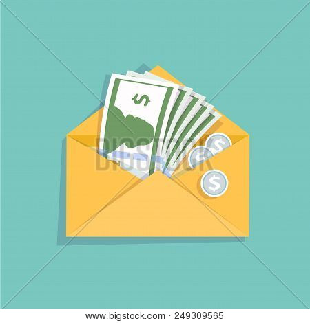 Open Yellow Envelope With Cash Money And Silver Coins. Salary, Money Payroll, Income, Salary Survey.