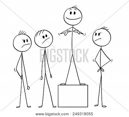 Cartoon Stick Drawing Conceptual Illustration Of Team Of Businessmen And One Of Them Claiming More C