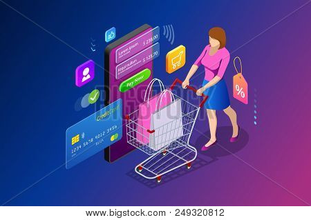 Isometric Smart Smartphone Online Shopping Concept. Smartphone Turned Into Internet Shop. Mobile Mar