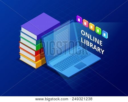 Online Learn Or E-book Library . Laptop Computer With Library Books. Innovative Education And Techno